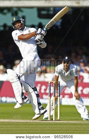 LONDON, ENGLAND. AUGUST 19 2012 South Africa's Vernon Philander batting during the third Investec cricket  test match between England and South Africa, at Lords Cricket Ground