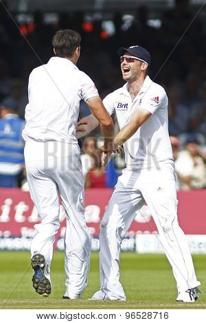 LONDON, ENGLAND. AUGUST 19 2012 England's Steven Finn and England's James Anderson celebrate a wicket during the third Investec cricket  test match between England and South Africa