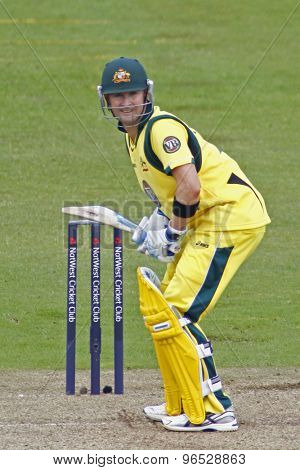 CHESTER LE STREET, ENGLAND. JULY 07 2012: Australia's captain Michael Clarke,  during the 4th one day international between England and Australia