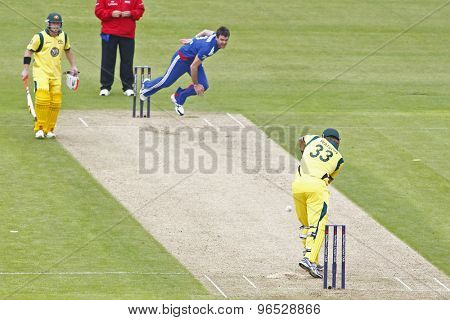 CHESTER LE STREET, ENGLAND. JULY 07 2012: England's James Anderson, bowls to Australia's Shane Watson, during the 4th one day international between England and Australia