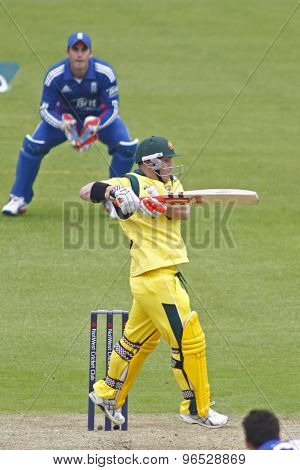CHESTER LE STREET, ENGLAND. JULY 07 2012: Australia's David Warner, batting during the 4th one day international between England and Australia