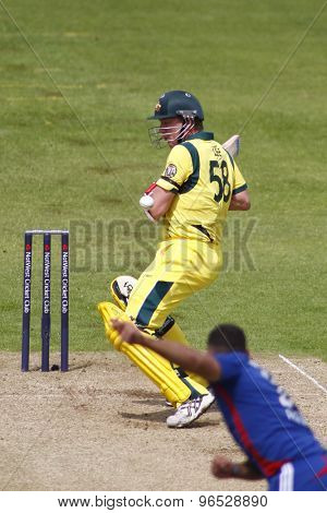 CHESTER LE STREET, ENGLAND. JULY 07 2012: Australia's Brett Lee, gets hit on the body during the 4th one day international between England and Australia
