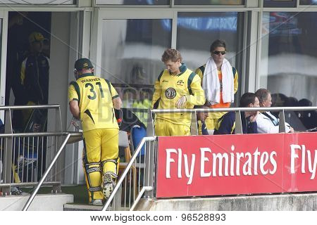 CHESTER LE STREET, ENGLAND. JULY 07 2012: Australia's David Warner, returns to the dressing room after being dismissed during the 4th one day international between England and Australia