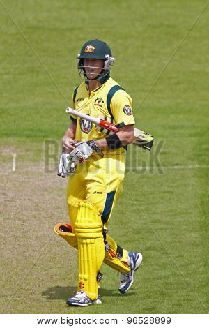 CHESTER LE STREET, ENGLAND. JULY 07 2012: Australia's George Bailey, walks off after being dismissed during the 4th one day international between England and Australia