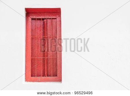 Vintage Red Window On Grunge Background