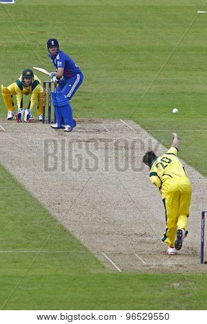 CHESTER LE STREET, ENGLAND. JULY 07 2012: Australia's Ben Hilfenhaus, bowls to England's Ian Bell,  during the 4th one day international between England and Australia