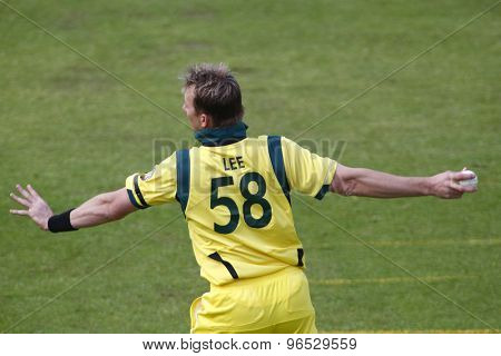 CHESTER LE STREET, ENGLAND. JULY 07 2012: Australia's Brett Lee, during the 4th one day international between England and Australia
