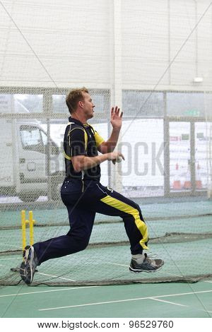 CHESTER LE STREET, ENGLAND. JULY 06 2012: Australia's Brett Lee, bowling during the official training and net session prior to the 4th one day international between England and Australia