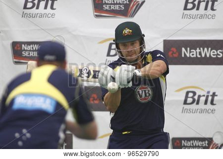 CHESTER LE STREET, ENGLAND. JULY 06 2012: Australia's Shane Watson, during the official training and net session prior to the 4th one day international between England and Australia