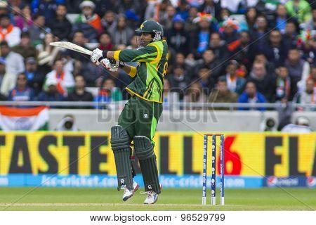 EDGBASTON, ENGLAND - June 15 2013: Pakistan's Umar Amin batting during the ICC Champions Trophy cricket match between India and Pakistan at Edgbaston Cricket Ground.
