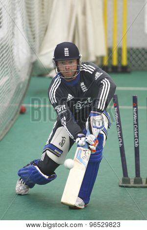 CHESTER LE STREET, ENGLAND. JULY 06 2012: England's Ian Bell,  during the official training and net session prior to the 4th one day international between England and Australia