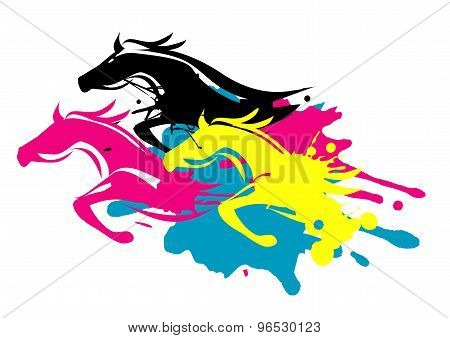 Print Colors Running Horses