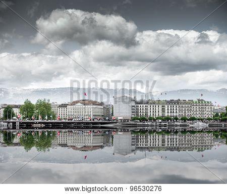 view of city of Geneva, the Leman Lake in Switzerland, Europe