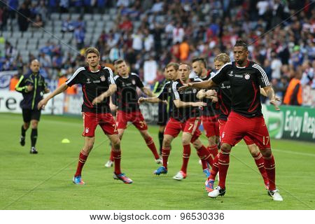 MUNICH, GERMANY May 19 2012. Munich players warm up for the 2012 UEFA Champions League Final at the Allianz Arena Munich contested by Chelsea and Bayern Munich