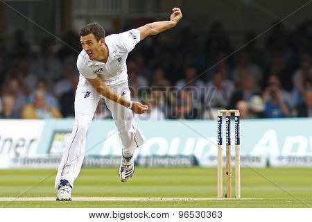 LONDON, ENGLAND. AUGUST 17 2012 England's Steven Finn bowling during the third Investec cricket  test match between England and South Africa, at Lords Cricket Ground