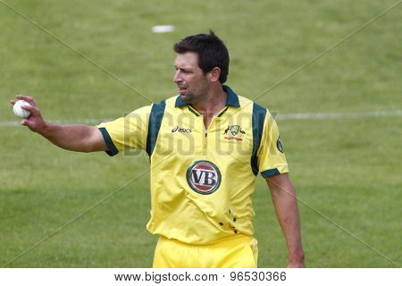 CHESTER LE STREET, ENGLAND. JULY 07 2012: Australia's Ben Hilfenhaus, during the 4th one day international between England and Australia