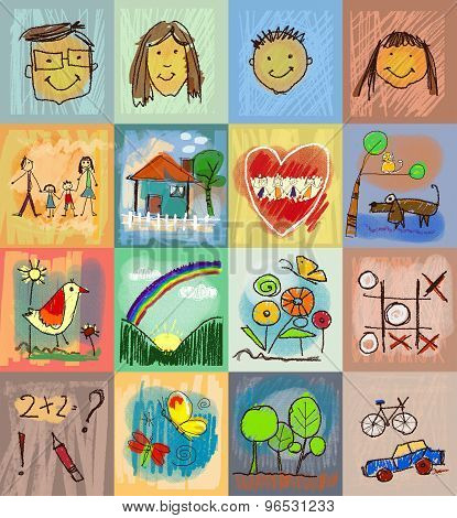 Children's Drawing Styles. Symbols Set With  Human Family, Animals, Nature, Objects