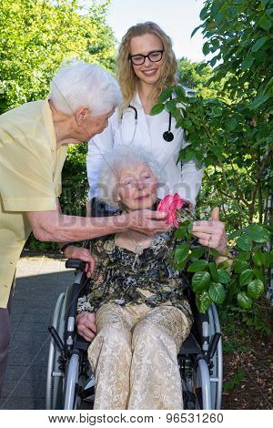 Elderly With Doctor And Caregiver At The Garden