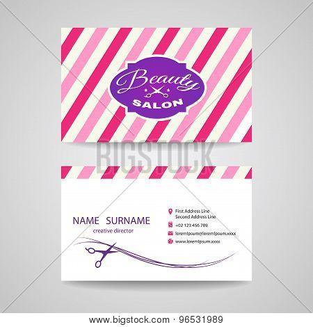 Business card beauty salon - pink tone vector design