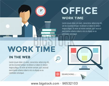 Clerk in office infographic. Work, time, loupe and computer. Vector stock illustration for design.
