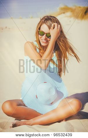 Woman On The Beach With Analog Effect Of Light Leakage