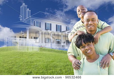 Happy African American Family with Ghosted House Drawing, Partial Photo and Rolling Green Hills Behind.