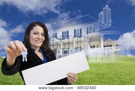 Hispanic Woman Holding Keys and Blank Sign with Ghosted House Drawing, Partial Photo and Rolling Green Hills Behind.