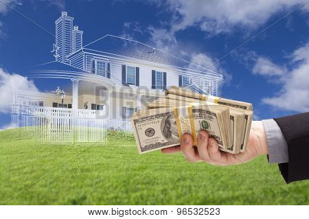 Male Handing Over Thousands of Dollars with Ghosted House Drawing, Partial Photo and Rolling Green Hills Behind.