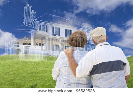 Senior Couple Faces Ghosted House Drawing, Partial Photo and Rolling Green Hills Behind.