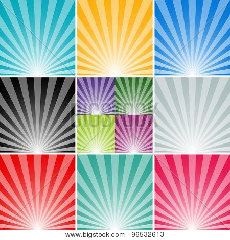 set sun and the sun's rays background. abstract vector illustration eps10