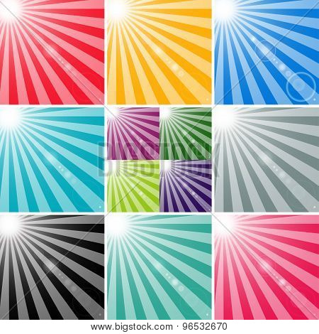 set sun and the sun's rays with highlights background. abstract vector illustration eps10