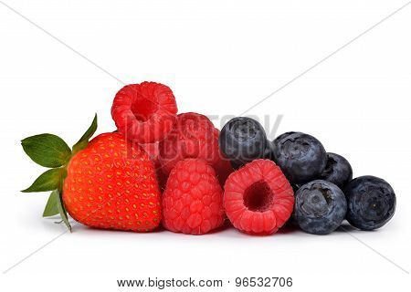 Strawberry with blueberries and raspberries