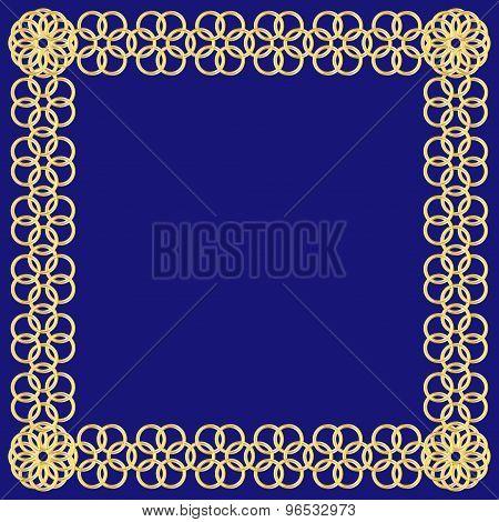 Golden Flower Of Circles Frame On Blue Background
