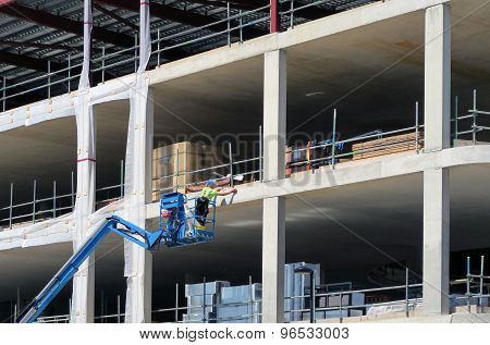 Construction Worker On Platform