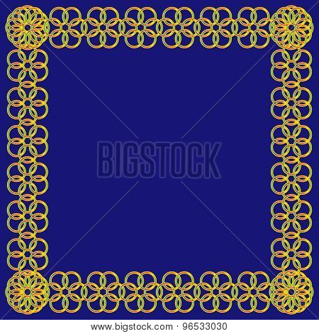 Colorful Flower Of Circles Frame On Blue Background