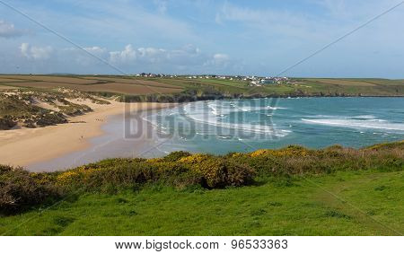 Crantock North Cornwall England UK near Newquay with waves in spring