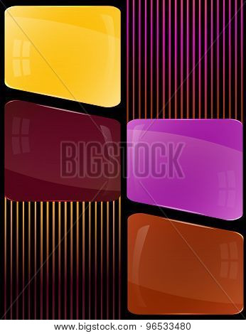 Glass plates of different colors with decoration lines