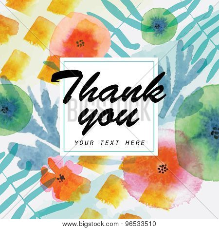 Thank you card decorated with watercolor floral elements.