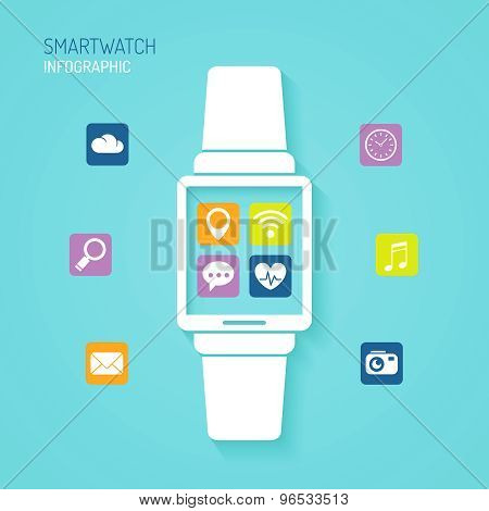 Smart Watch Wearable Device With Apps Icons Flat Design
