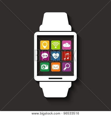 Wearables Technology Device Smartwatch With Apps Icons