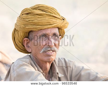 Indian man attended the annual Pushkar Camel Mela.
