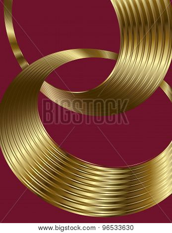 Golden spiral circle text boxes on burgundy background