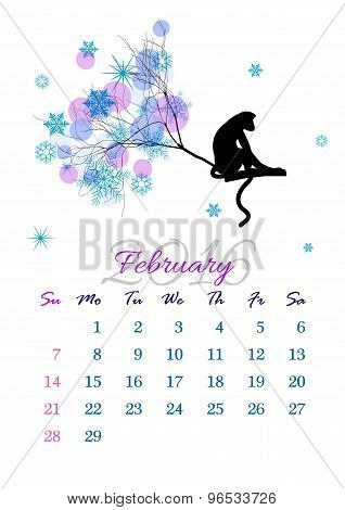 Calendar Sheet For 2016 February With Monkey On Tree Branch