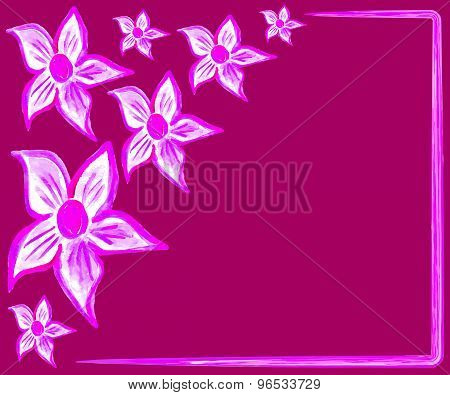 Pink watercolor flowers text template