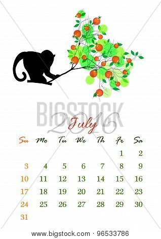 Calendar Sheet For 2016 July With Monkey On Tree Branch