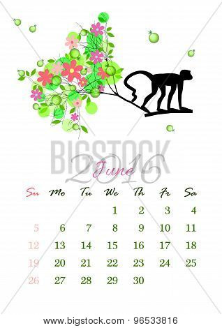 Calendar Sheet For 2016 June With Monkey On Tree Branch