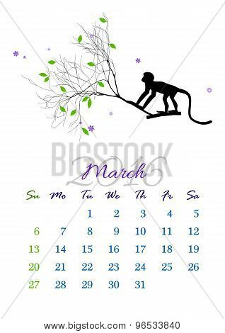 Calendar Sheet For 2016 March With Monkey On Tree Branch