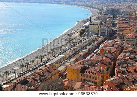 Panoramic View Of Spring Nice Coastline And Old Town, French Riviera