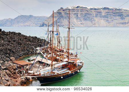 Santorini Boats Vulcano Landscape