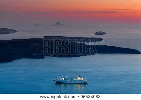 Passengership Santorini At Sunset